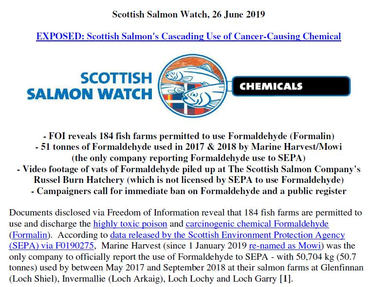PR Formalin Cancer Causing Chemicals Stashed at Scottish Salmon 26 June 2019 #1