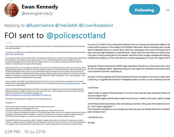 Police Scotland tweet by ewan 16 July 2019