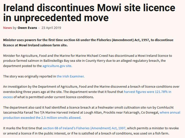 Licence revoked in Ireland