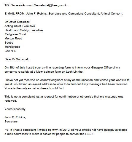 HSE Animal Concern Aug 2019 Letter #2