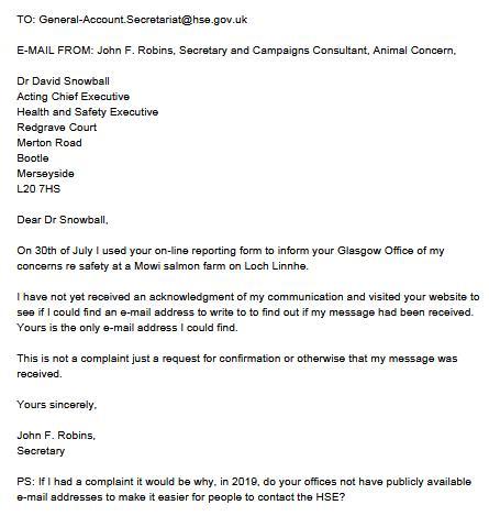 HSE Animal Concern Aug 2019 Letter #2