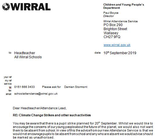 Wirral Council letter re climate strike 10 september 2019 #1