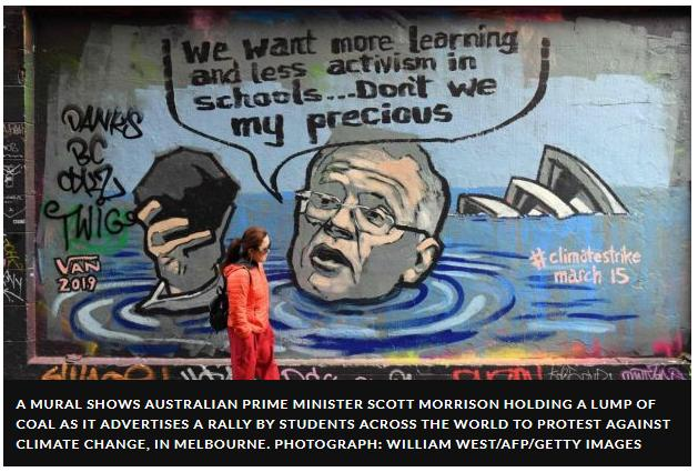 Cartoon more learning less activism mural