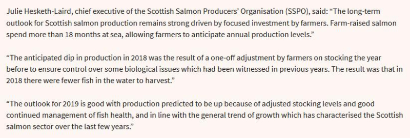 2019 Fish Farm Survey SSPO Julie quote in Salmon Business