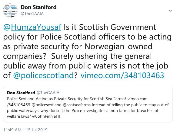 Police Scotland Tweet to Humza Yousaf 15 July 2019