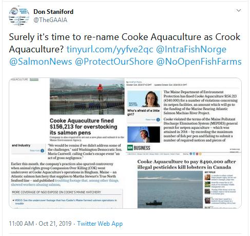 Intrafish Cooke fine Oct 2019 #4 Tweet