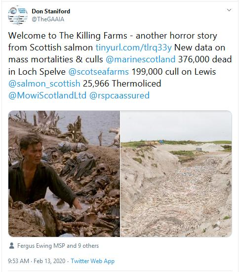 Cull blog Feb 2020 Tweet on Killing Farms 13 Feb