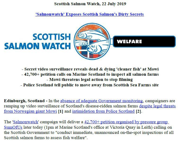 PR Exposing Scottish Salmon's Dirty Secrets 22 July 2019 #1