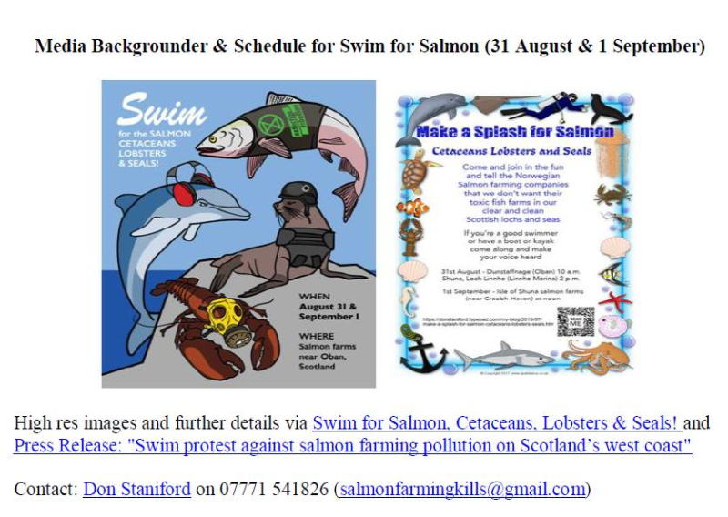 Media Backgrounder & Schedule for Swim for Salmon 31 Aug & 1 Sept 2019 #1
