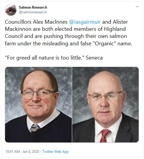 PR Organic Scamon 8 Jan 2020 Tweet by Salmon Research