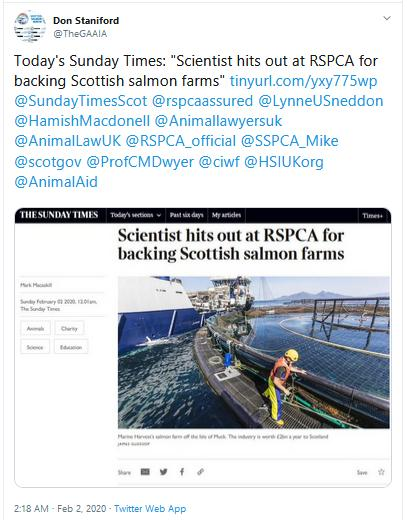 Sunday Times Scientist hits out RSPCA 2 Feb 2020 Tweet #1