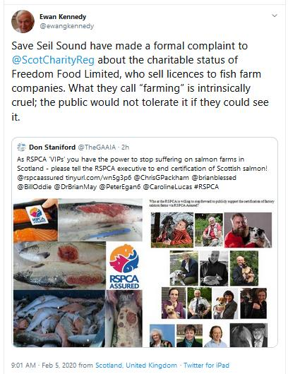 PR RSPCA Asked to Stop Certification 5 Feb 2020 Tweet #3 Ewan re OSCR complaint