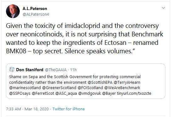 PR Ectosan BMK08 17 March 2020 Tweet #7 silence speaks volumes