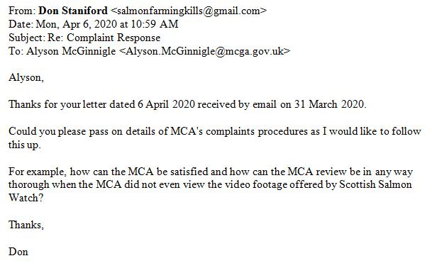 MCA Complaint Reponse Letter 6 April 2020 #3 email asking for complaints procedures