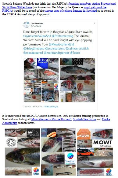Letter to RSPCA re welfare abuse on RSPCA Assured salmon farms 5 February 2020 #1 b