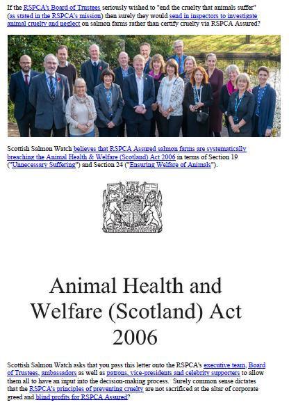 Letter to RSPCA re welfare abuse on RSPCA Assured salmon farms 5 February 2020 #1 f