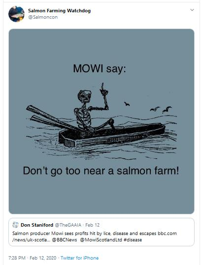 Mowi death Tweet graphic don't go too near a salmon farm 12 Feb 2020