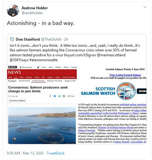 Greed Hamish Macdonel tweet 13 March 2020 Tweet astonishing