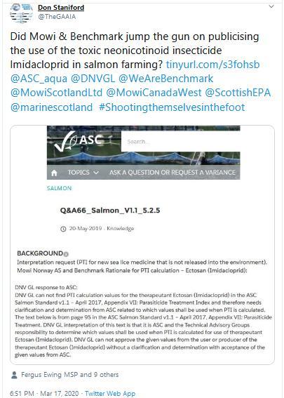 PR Ectosan BMK08 17 March 2020 Tweet #3 ASC jumping gun Mowi #2