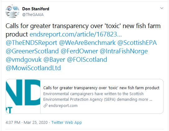 ENDS Report on Transparency over Imidacloprid 25 March 2020 tweet