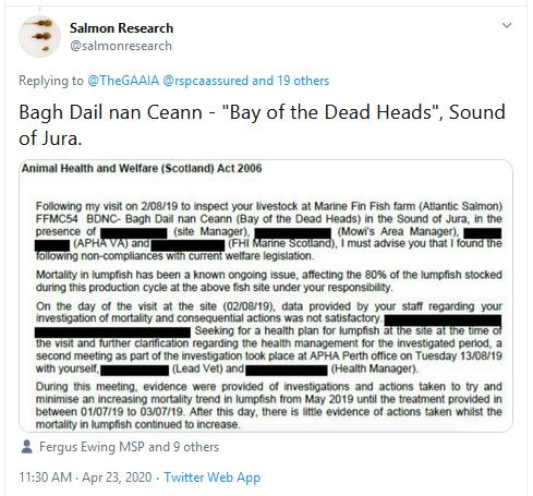PR Censored Welfare Abuse on Salmon Farms 23 April 2020 Tweet #2 Salmon Research on BDNC