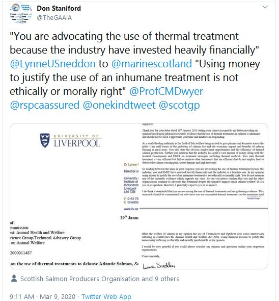 Lynne Sneddon letter 29 Jan 2020 Tweet 9 March 2020