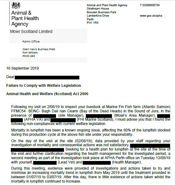 APHA Failure to Comply letter to Mowi 16 Sept 2019 BDNC #1
