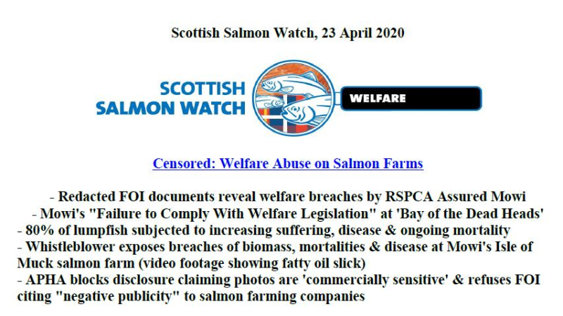 PR Censored Welfare Abuse on Salmon Farms 23 April 2020 #1