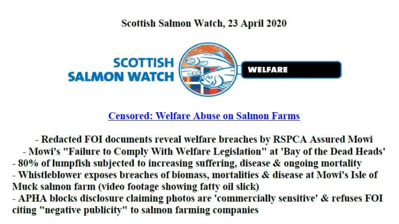 PR Censored Welfare Abuse on Salmon Farms 23 April 2020 #1