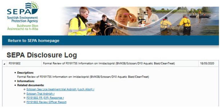 PR Imidacloprid trial in Loch Ailort by Mowi 20 May 2020 #9 SEPA FOI disclosure