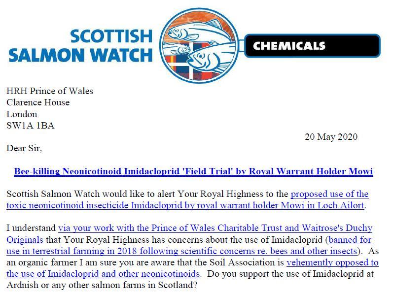 Imidacloprid letter to Prince Charles 20 May 2020 #1