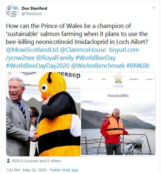 PR Imidacloprid trial in Loch Ailort by Mowi 20 May 2020 Tweet #4 Prince Wales