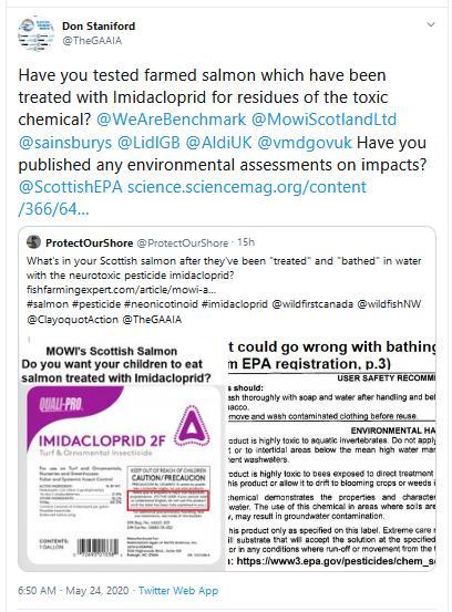 Imidacloprid Tweet Protect Our Shore 23 May 2020 #2 follow up