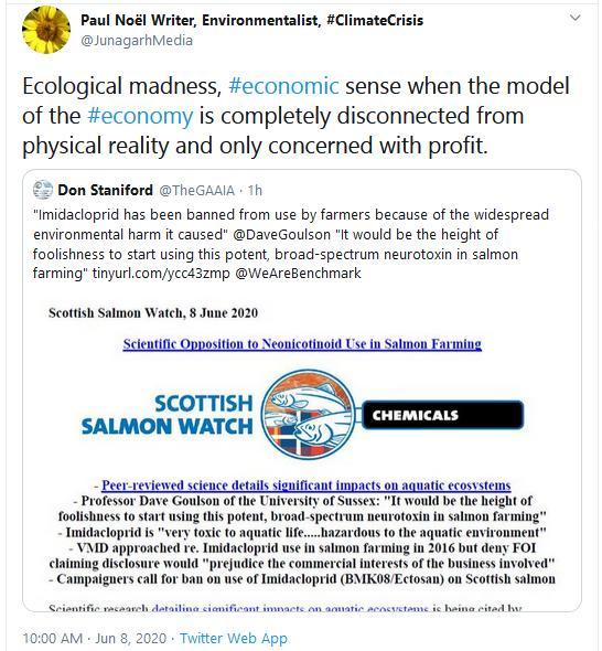 PR Scientific Opposition to Imidacloprid Use in Salmon Farming 8 June 2020 Tweet #3 Paul Noel