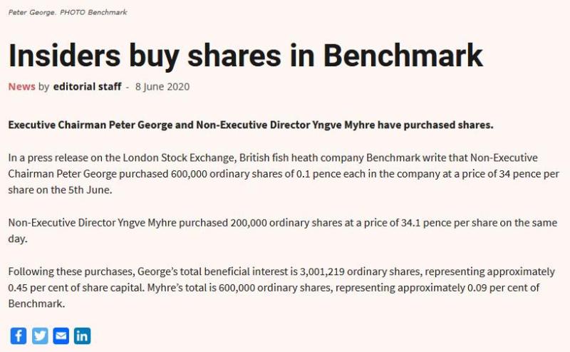 Benchmark insiders buy shares June 2020 #2