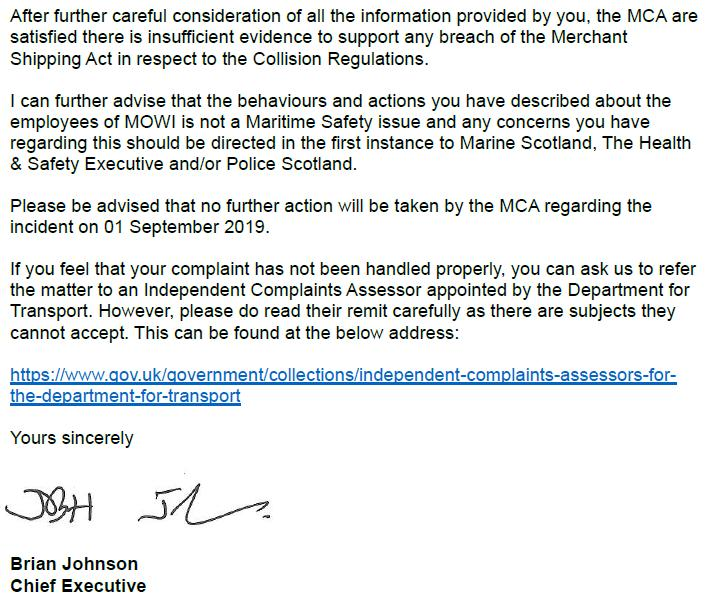 M&CA Complaint reply re Ardintoul 18 June 2020 Letter from Brian Johnson #3