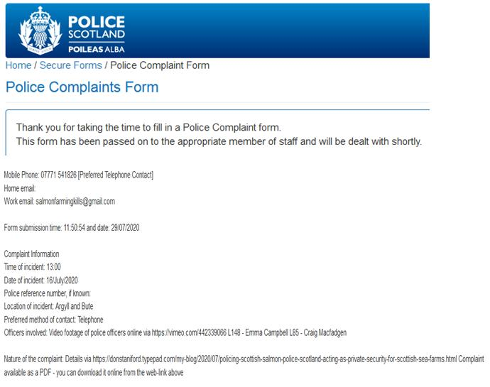 Letter to Police Scotland re Loch Creran 29 July 2020 Complaint filed online