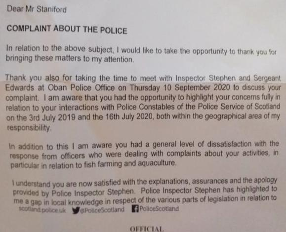 Police Scotland apology letter 2 October 2020 #1