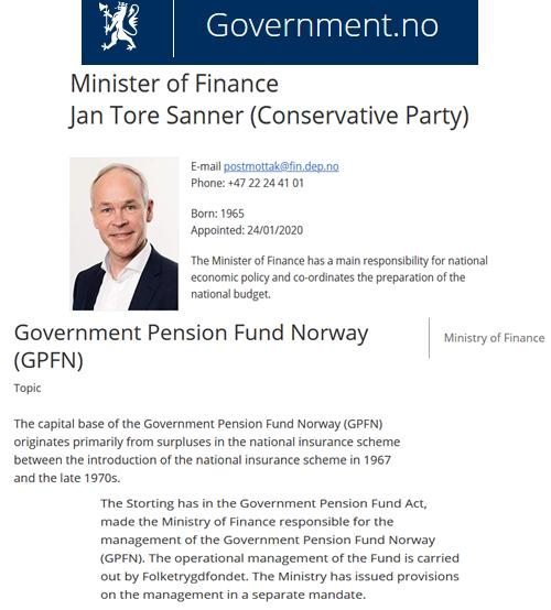 Norwegian Governmet Minister of Finance
