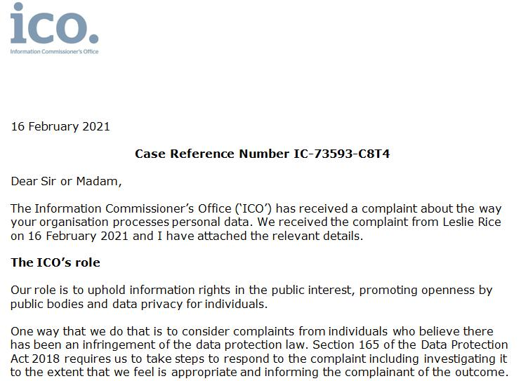 ICO complaint from Lesley Rice 16 Feb 2021 #1