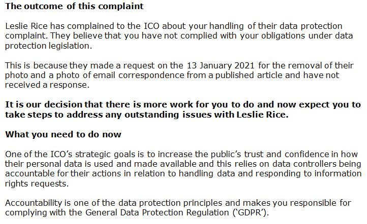 ICO complaint from Lesley Rice 16 Feb 2021 #2