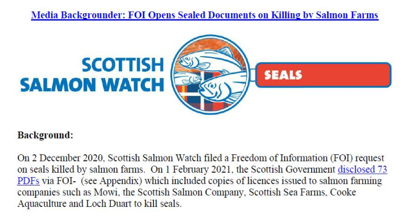 Media Backgrounder FOI Opens Sealed Documents on Killing by Salmon Farms Feb 2021 #1