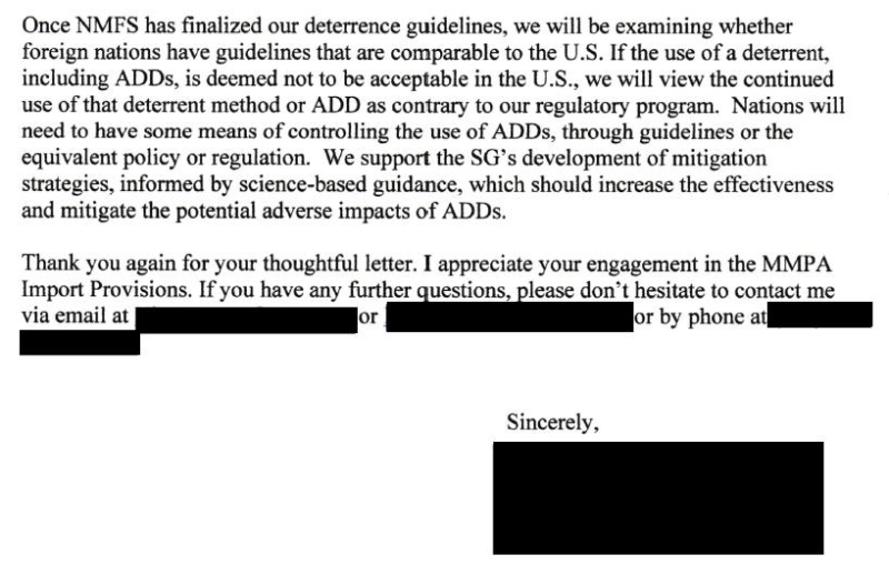 FOI SG MMPA 29 Oct 2020 NOAA letter to SG #ADD #3