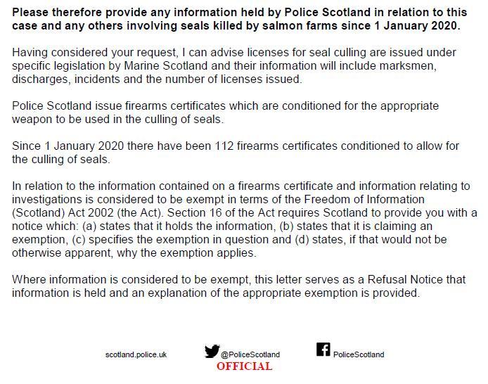 Police Scotland FOI refusal 2 March 2021 re marksmen & prosecutions #2