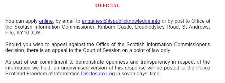 Police Scotland FOI refusal 2 March 2021 re marksmen & prosecutions #5