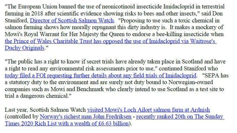 PR Imidacloprid trial in Loch Ailort by Mowi 20 May 2020 #7