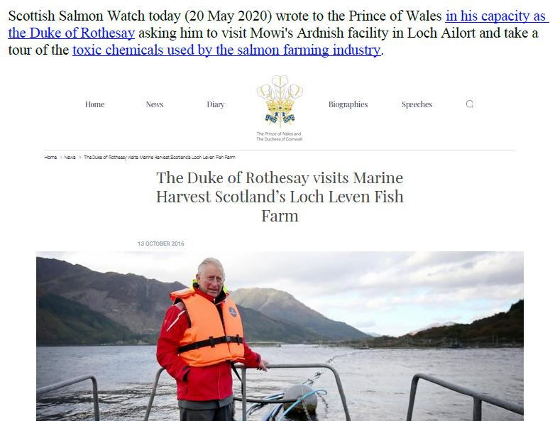 PR Imidacloprid trial in Loch Ailort by Mowi 20 May 2020 #10 Prince Charles