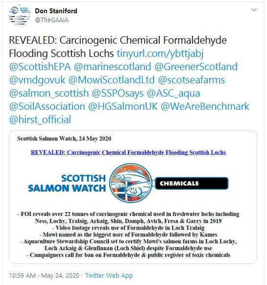 PR Cancer-causing chemical flooding Scottish lochs 24 May 2020 Tweet #1