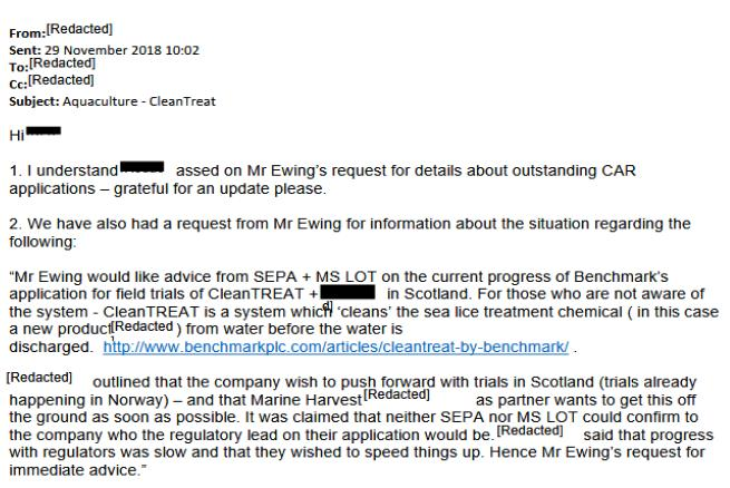 CleanTreat FOI Disclosures by the Scottish Government Dec 2019 #6 Nov 2018 Fergus Mowi as soon as possible