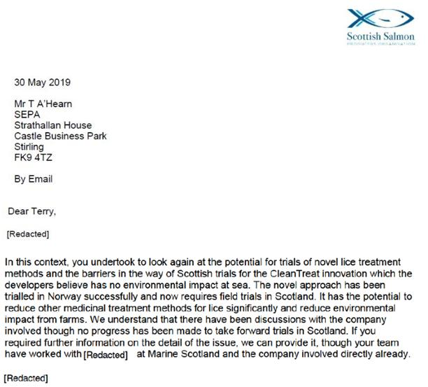 CleanTreat FOI Disclosures by the Scottish Government Dec 2019 #7 May 2019 SSPO to SEPA